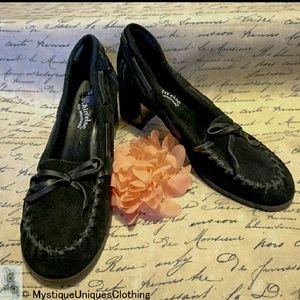 SALE Skechers Black Leather Suede Heels